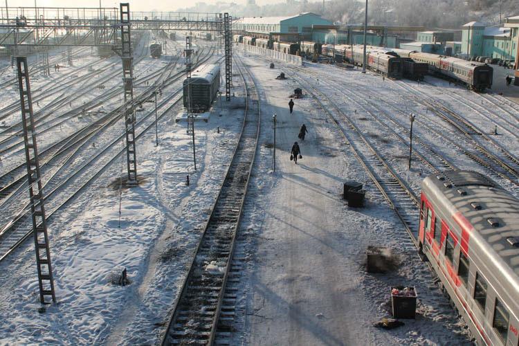 Gare d'Irkoutsk, vu depuis la passerelle