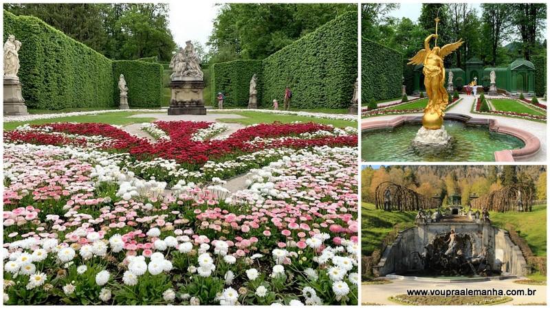 Os jardins que circundam o prédio do palácio