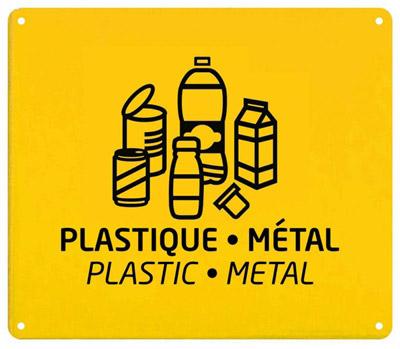 Plaque De Tri Slectif Jaune Rossignol Tri Plastique Mtal