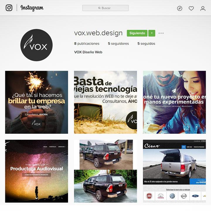 VOX Diseño Web ahora está en Instagram!
