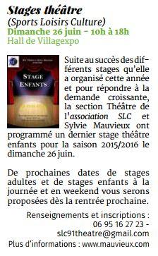 Stage théâtre SLC le 26 juin prochain