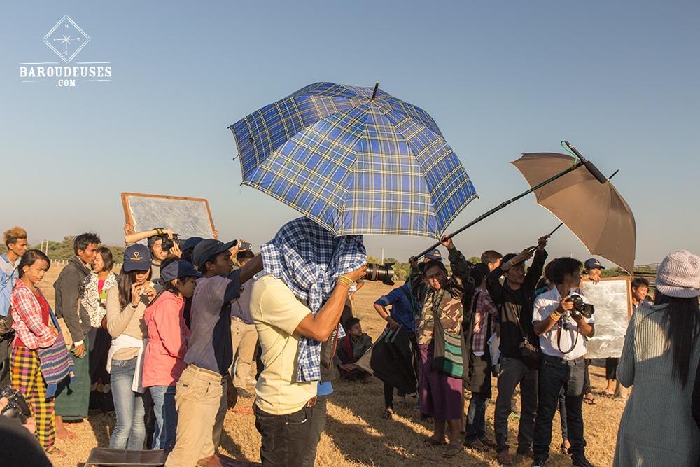 Tournage d'un film birman à bagan