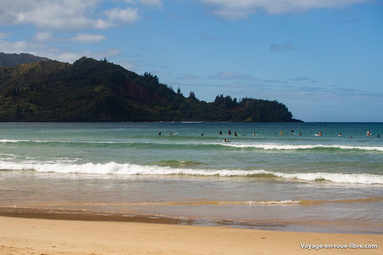 La plage d'Hanalei : un endroit idéal pour apprendre le surf