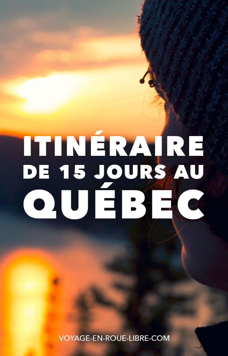 15 jours pour découvrir le Québec en été  Ça y est ! Cette année, c'est la bonne ! Tu as enfin pris tes billets pour le Québec ! Cet été, tu en profiteras :2 semaines pour découvrir la nature sauvage, les festivals, la gastronomie québécoise.  Mais deux semaines, c'est court quand on voit l'immensité du territoire ! Par où commencer ?