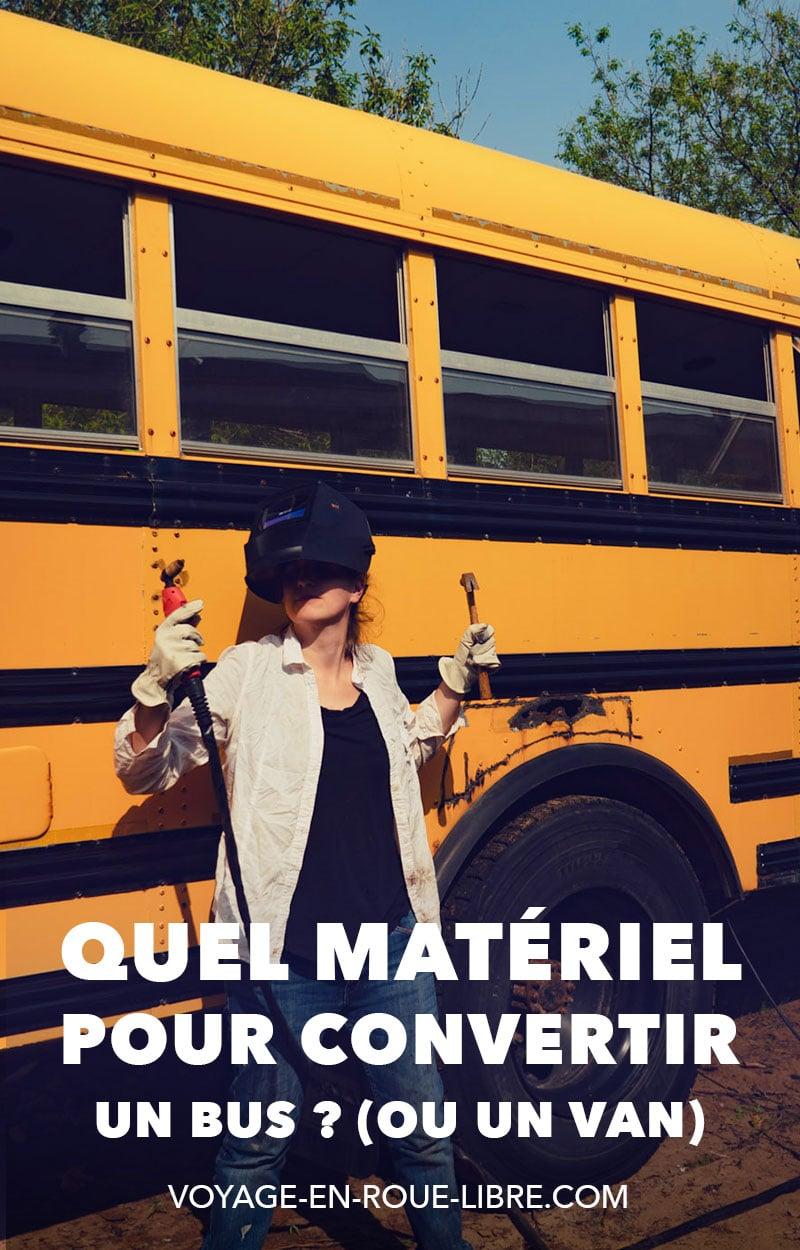 Nous nous faisons souvent demander quels outils ou quels produits nous utilisons pour convertir notre autobus scolaire. Et en effet, cela prend de s'équiper un minimum une fois que tu as acheté ton bus ! Dans cet article, on fait le tour des produits que nous utilisons au cours de notre conversion. Nous te donnons aussi les bons fournisseurs dans la région du Grand Montréal. Nous complétons cet article au fur et à mesure de l'avancement des travaux à bord du skoolie.