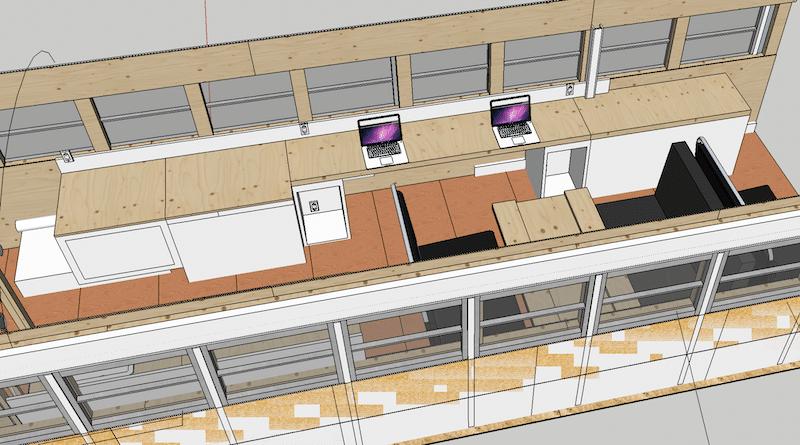 Studio de création aménagé en 3D avec SketchUp.