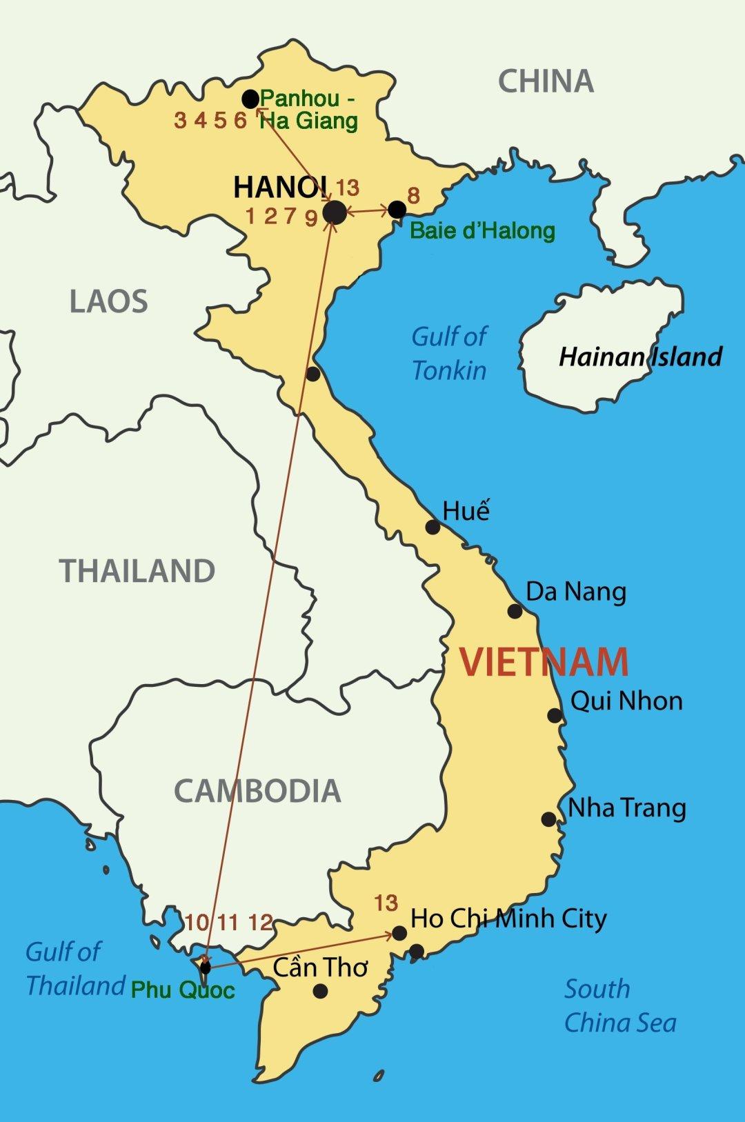 Carte Circuit Vietnam - Randonnée montagnarde et étape balnéaire