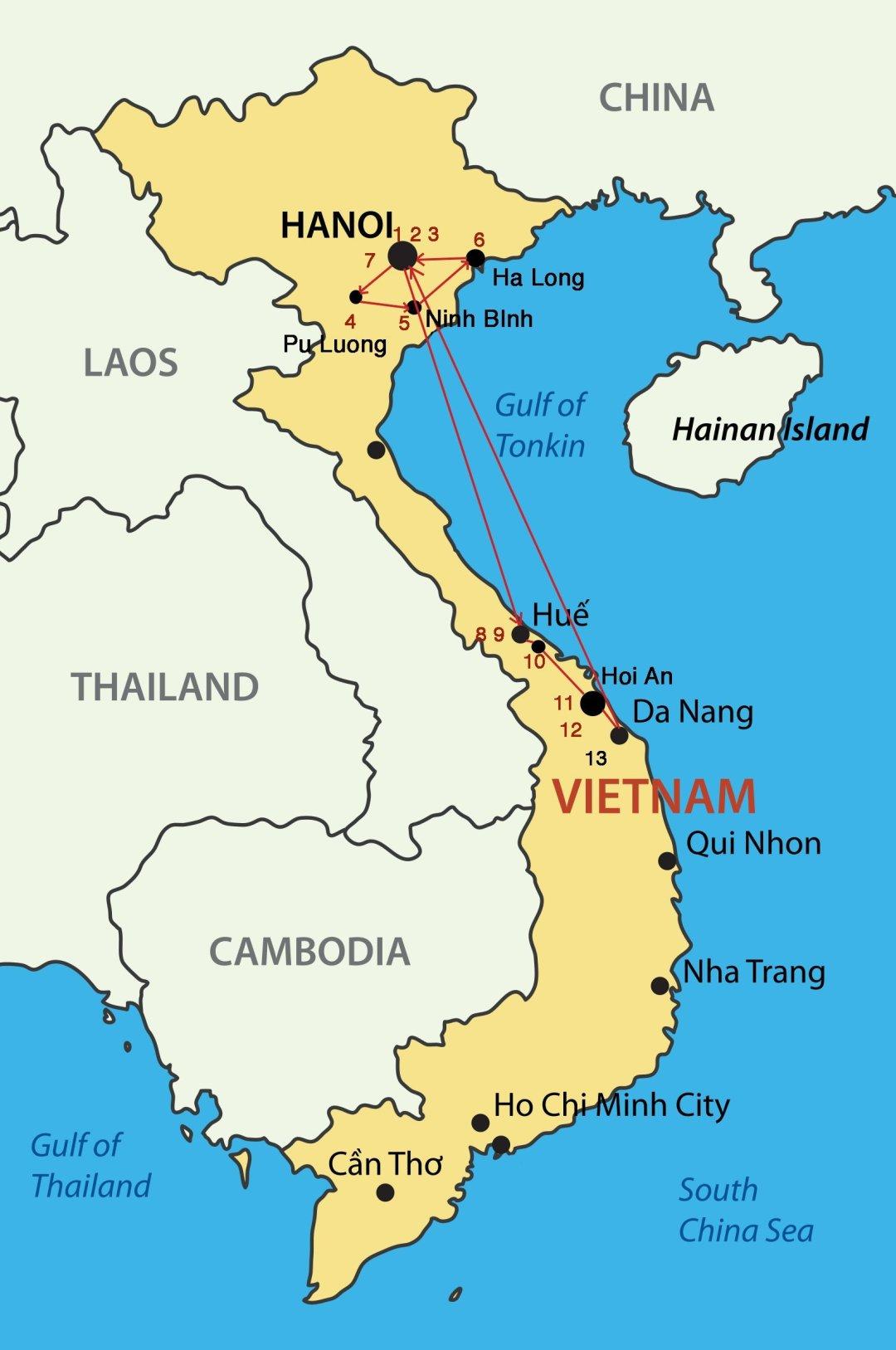 Circuit Vietnam - Carte en cours de réalisation