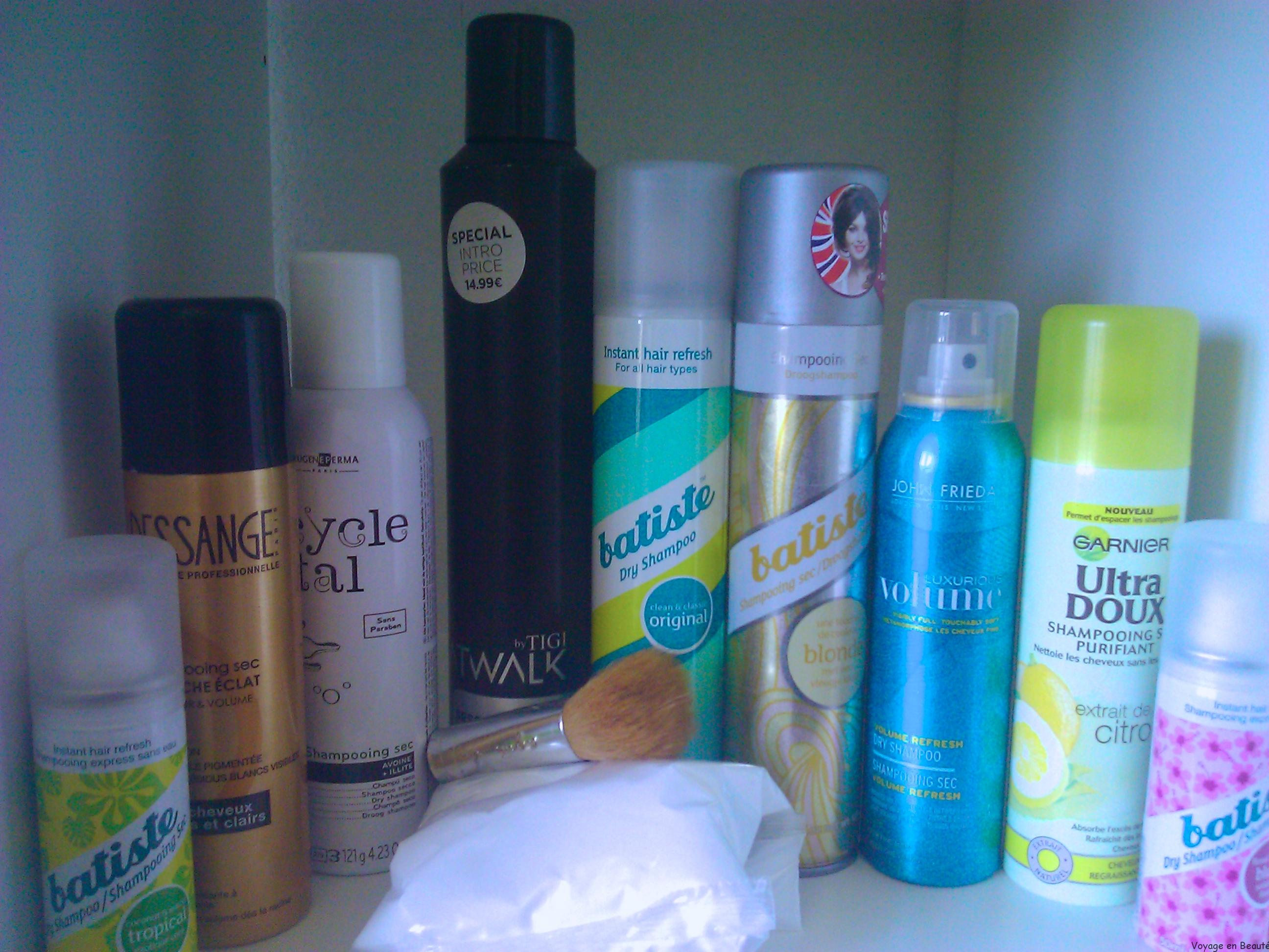 Les shampooings secs au banc d'essai : Dessange, Batiste, Tigi, Eugène Perma, Garnier, john frieda test par voyage en beauté