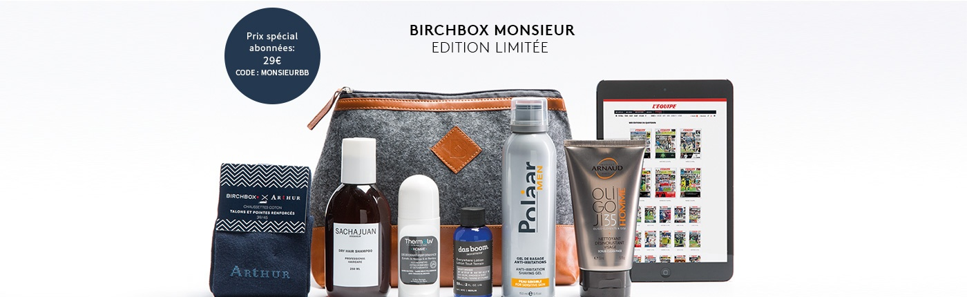 Id e cadeau la birchbox monsieur en edition limit e - Code promo son video frais de port gratuit ...