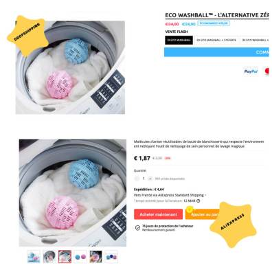 arnaque dropshipping boules lavage