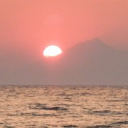 Sunset behind the Mount Athos