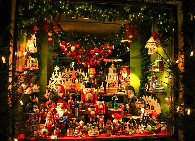 Holiday Window Decorations in Rothenburg ob der Tauber, Germany - Taken by Diann Corbett, 11/2012.