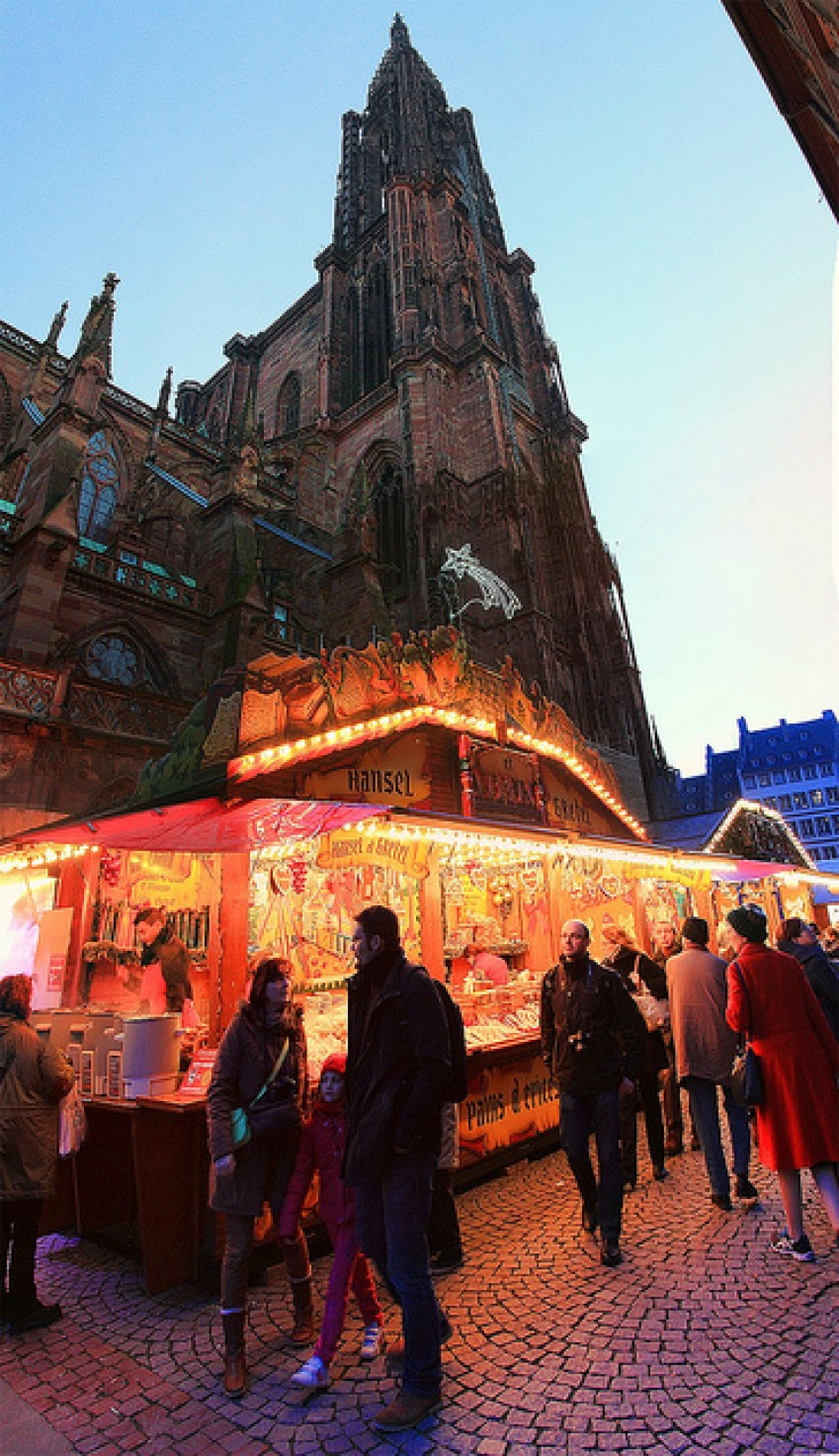 Christmas outside the Strasbourg Cathedral in France, taken by Diann Corbett, 12/2014.