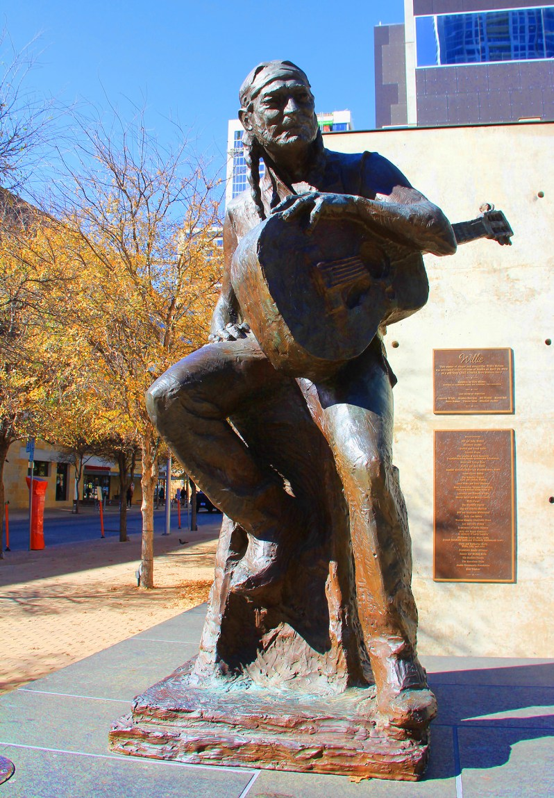 Willie Nelson Statue, Austin, TX - taken by Diann Corbett, 12/2015.