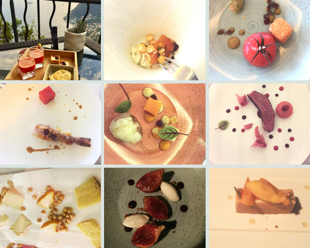 Photo collage of tasting menu meal at Chateau Eza.