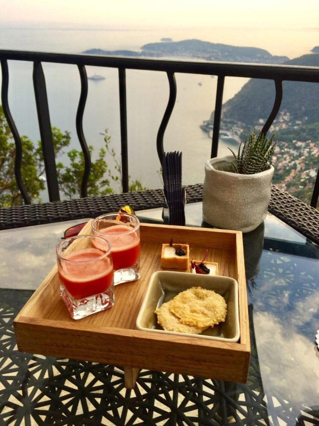 Amuse bouche at Chateau Eza in Eze, looking down on the Mediterranean and Cap Ferrat.