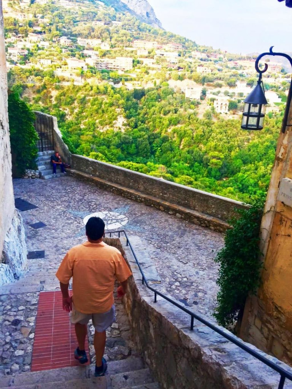 View from the hilltown of Eze, Tim walking down the stairs.