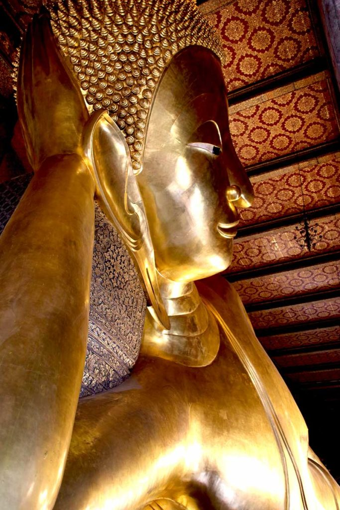Reclining Buddha statue just under 50 feet high at Wat Pho in Bangkok.