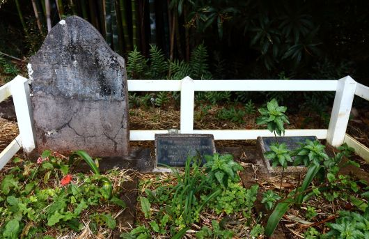 The grave of John Adams and his family. When the British finally found the mutineers on Pitcairn, Adams was the only surviving male amongst 19 women and 23 children (according to Mel Gibson in his film 'The Bounty' - a highly recommended watch!).