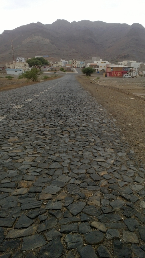 Paved road leading to São Pedro - São Vicente, Cape Verde