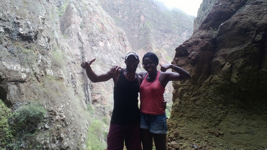 Nath and Arlindo at the Xoxo cascade- Santo Antão, Cape Verde