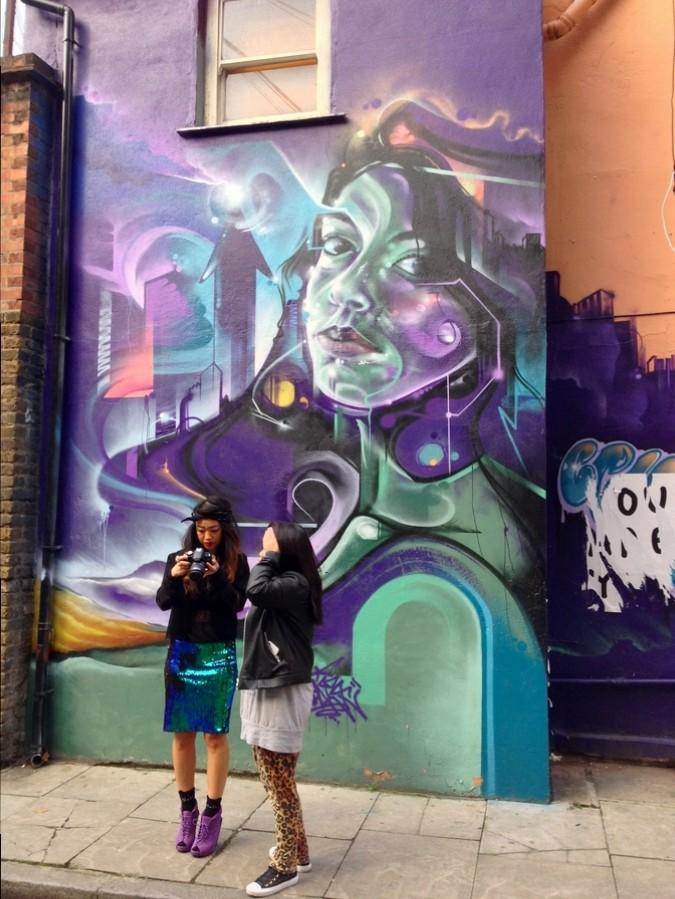 Fresque à Brick Lane - Londres, Angleterre