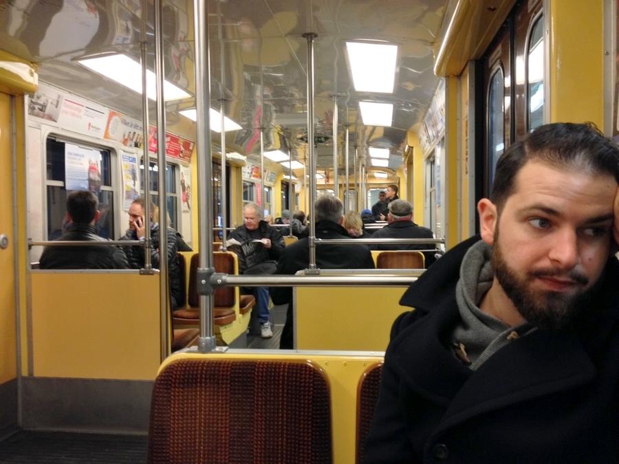 Séb in the subway - Stockholm, Sweden