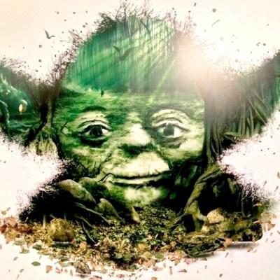 Poster de Yoda à l'Exposition Star Wars Identities - Lyon, France