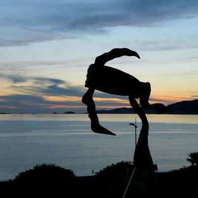 Sculpture representing the corsican flag at the Radisson Blu hotel - Ajaccio, Corsica