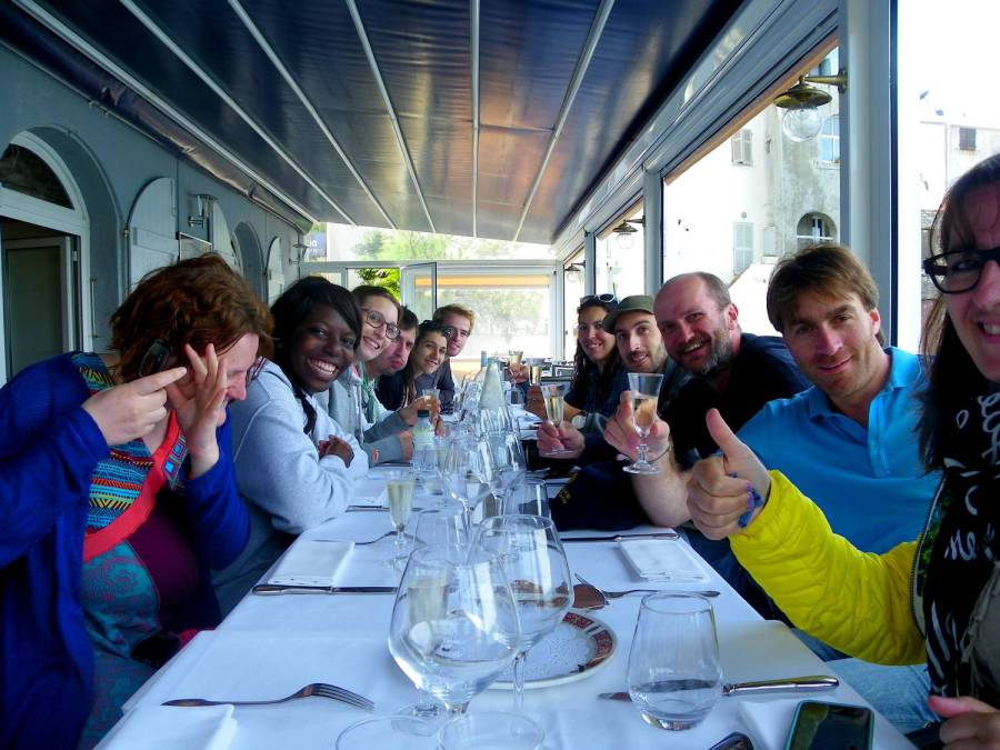 Group photo at the Marinuccia restaurant - Saint-Florent, Corsica