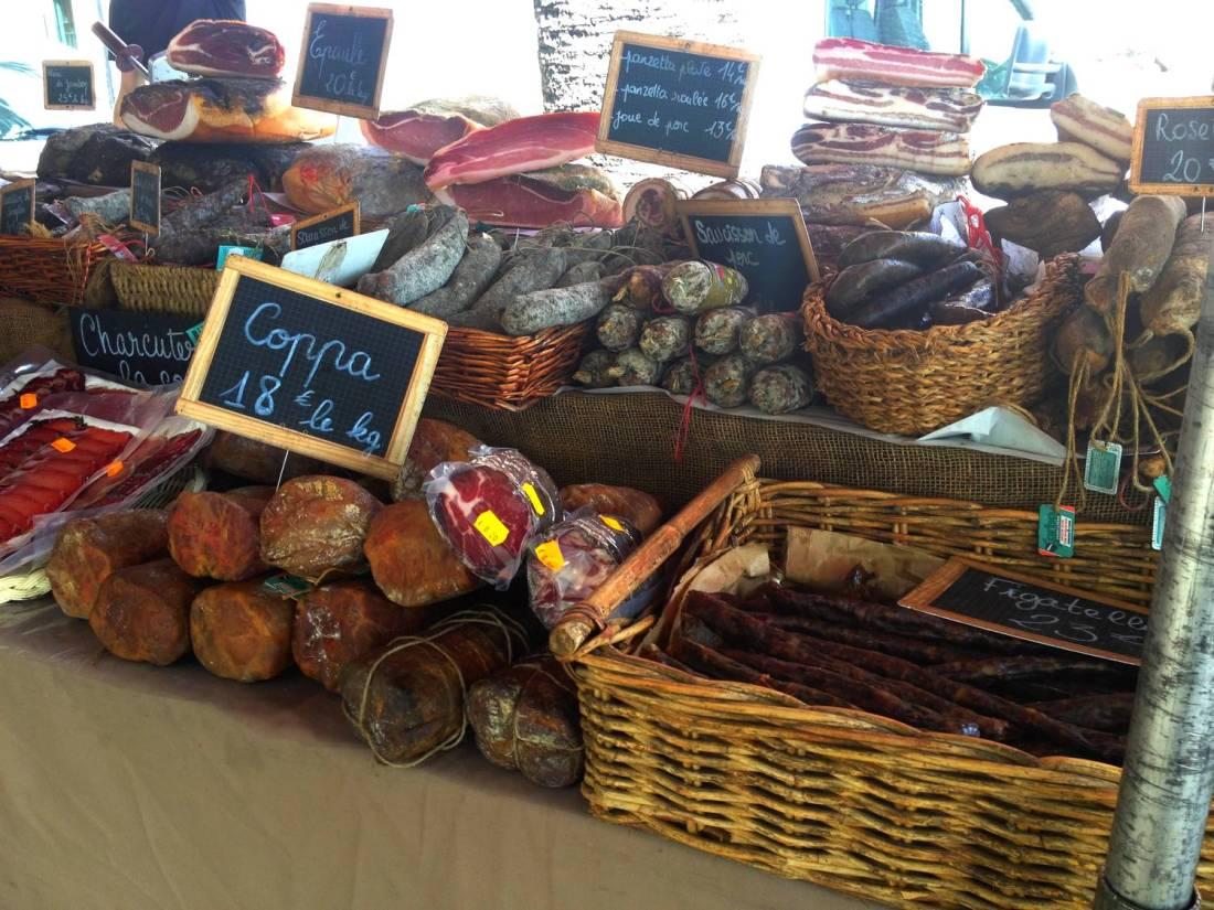 U Cintu charcuterie stand at the market - Ajaccio, Corsica