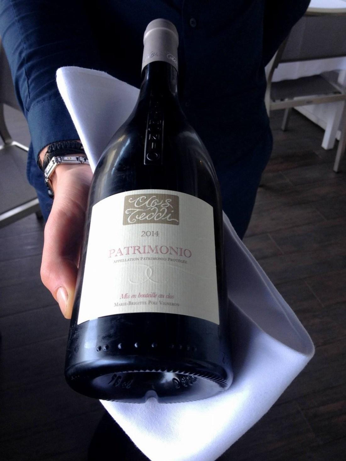 Red wine bottle at the Marinuccia restaurant - Saint-Florent, Corsica