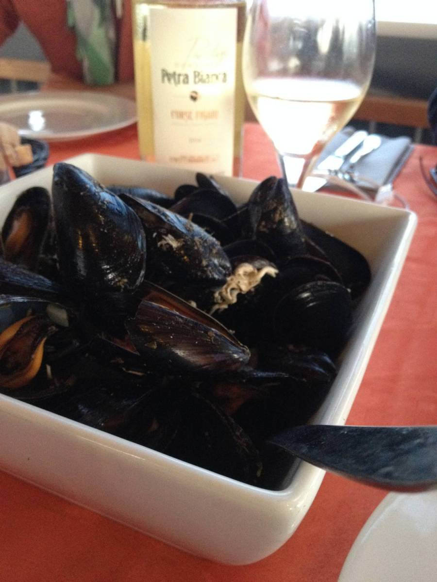 "Mussels and white wine at the ""L'étang d'Urbinu"" restaurant - Corsica"