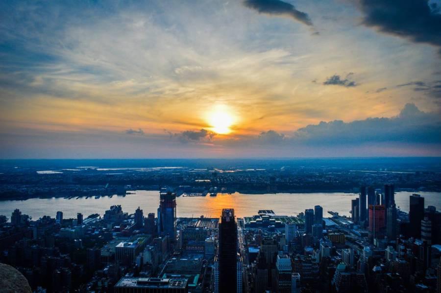 Coucher de soleil depuis l'Empire State Building - New York, Etats-Unis