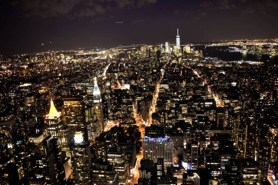 View over New York by night from the Empire State Building - New York, United States