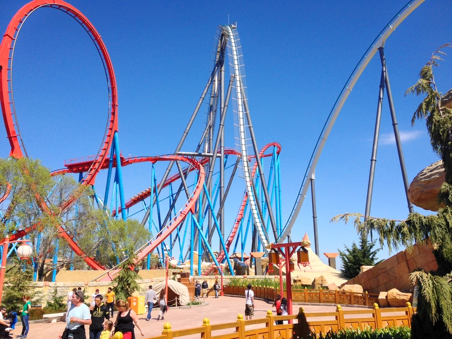 The Shambala and the Dragon Khan rollercoasters in Port Aventura - Salou, Spain