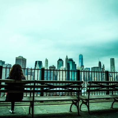 Beautiful view of Manhattan from the Brooklyn Heights Promenade - New York, USA