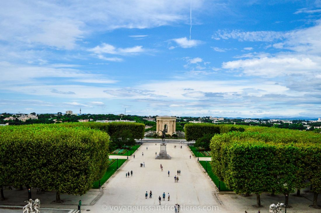 View on the Promenade du Peyrou from the top of the Arc de Triomphe - Montpellier, France