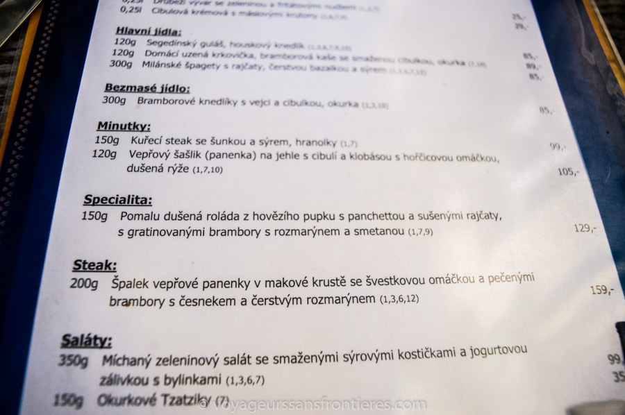 Kopyto's menu - Prague, Czech Republic