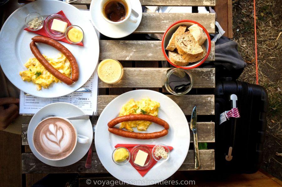 Copious breakfast at Café Jen - Prague, Czech Republic
