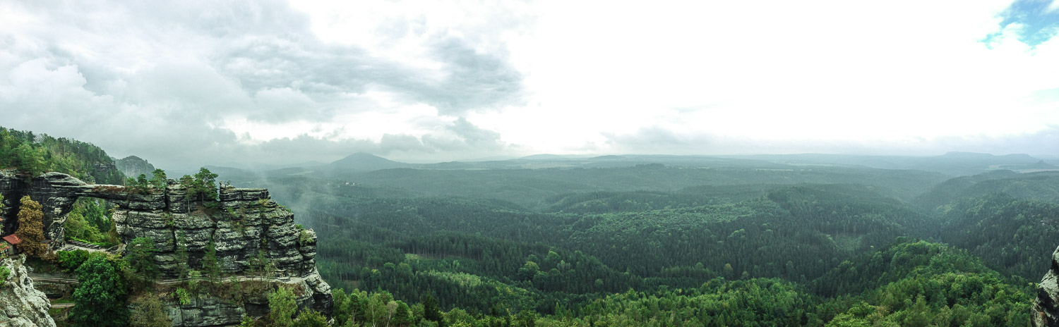 Panorama on the Pravcicke gate in the Bohemian Switzerland National Park - Northwest Bohemia, Czech Republic