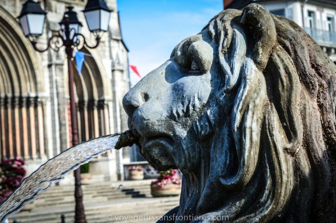 Sculpture of a lion nearby Saint-Bruno church - Voiron, France