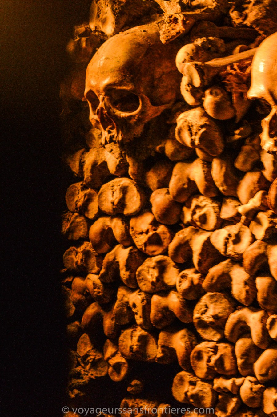 Crâne et ossements - Catacombes de Paris, France