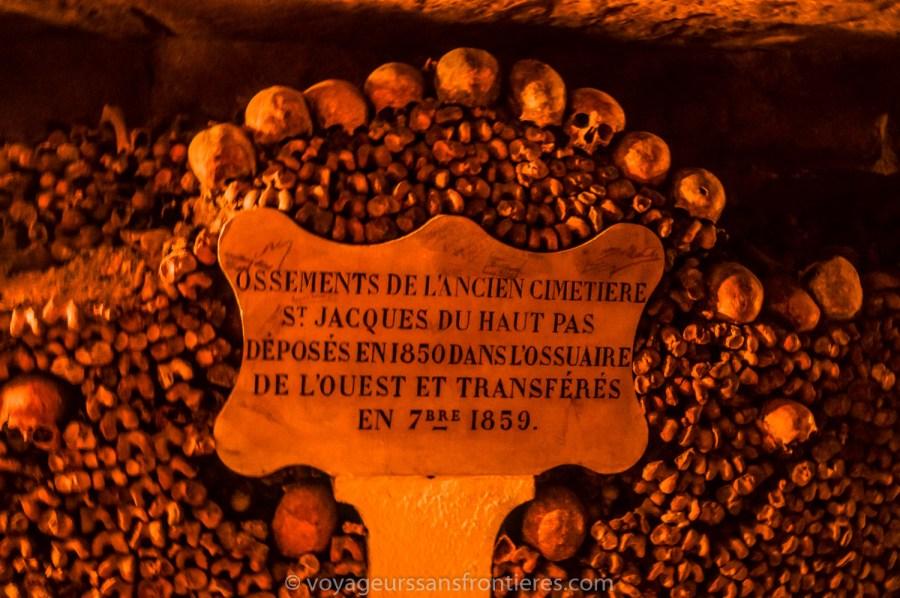 Transfert date of the bones - Paris Catacombs, France