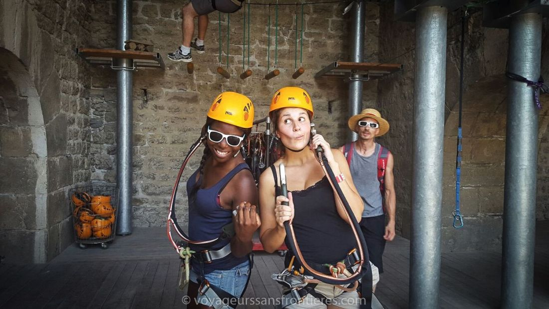Nath and Sarah ready for the tree climbing at Acrobastille - Grenoble, France