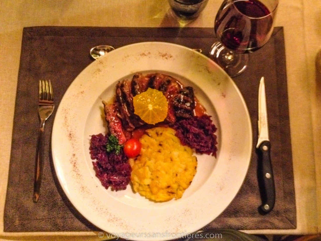 Orange duck breast with röstis and cabbage at the Les Lilas Hotel - Les Diablerets, Switzerland