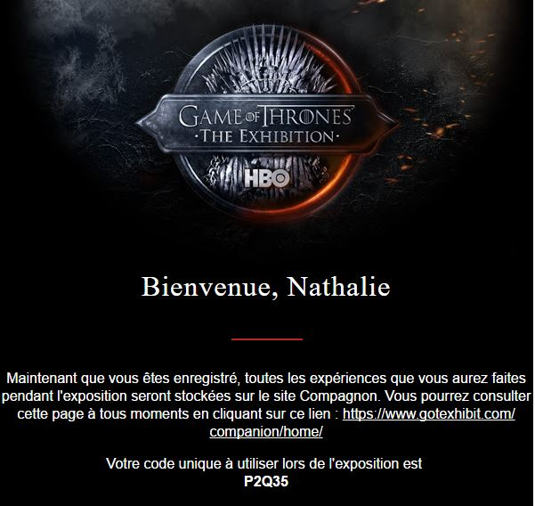 Confirmation e-mail for the Game of Thrones exhibition in Paris