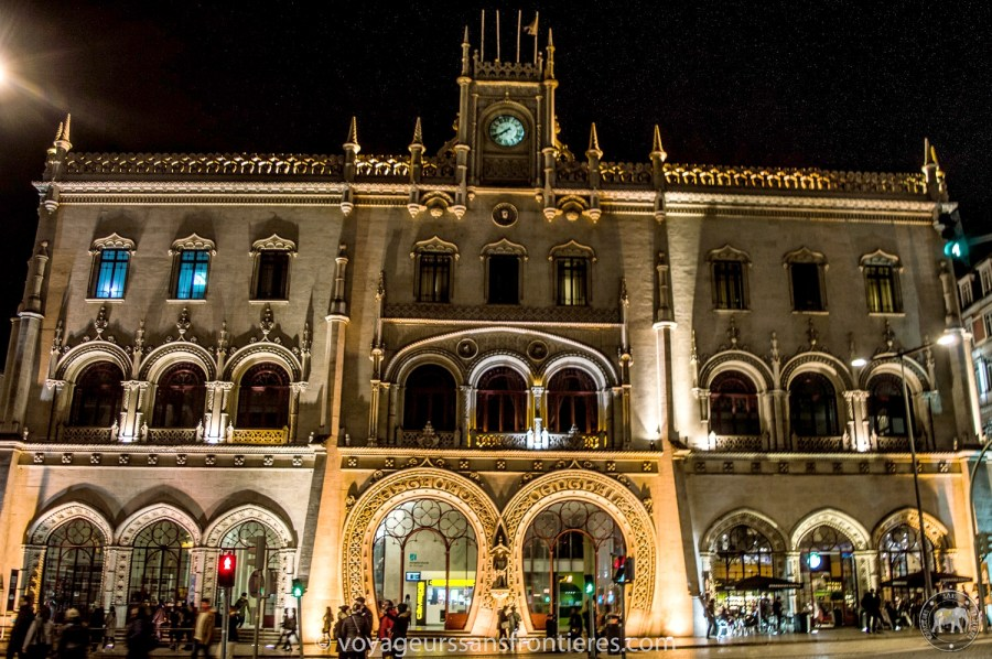 Rossio train station at night - Lisbon, Portugal