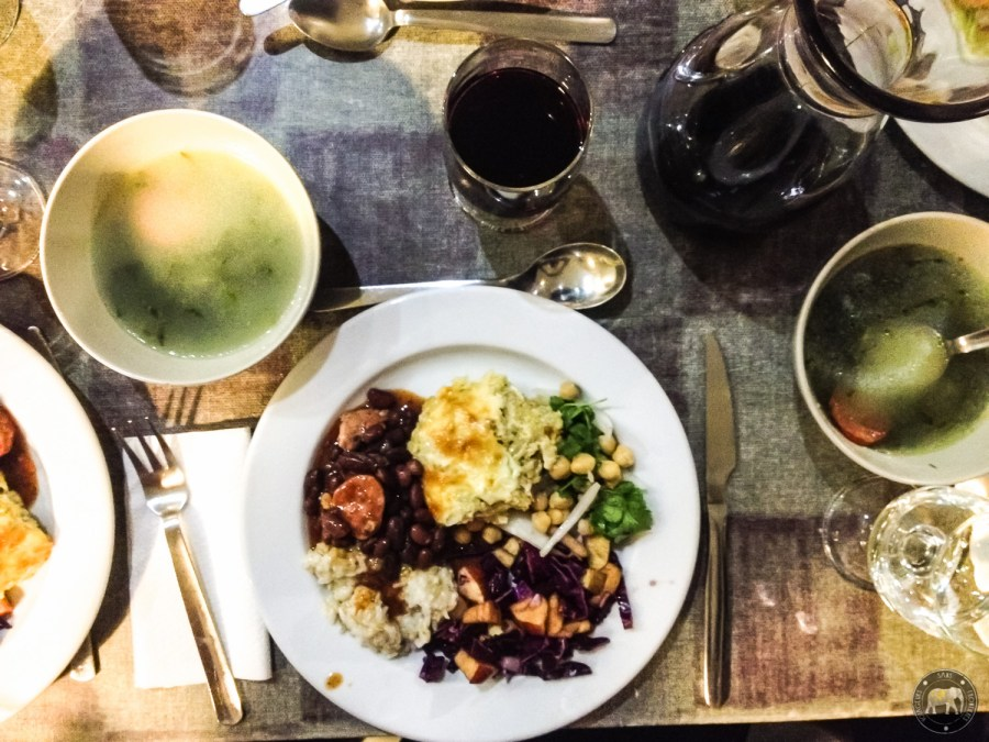 Portuguese meal at the Lisbon Destination Hostel - Lisbon, Portugal